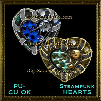 Steampunk Hearts Element Transparent Full Size PSD Template Commercial Use