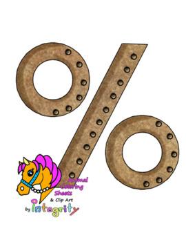 Steampunk Numbers Clip Art - Steampunk Math Symbols