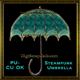 Steampunk Umbrella Element Transparent Full Size PSD Template Commercial Use