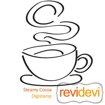 Steamy cocoa (digital stamp, coloring image) S019, coffee cup