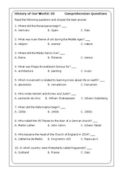 """Steck-Vaughn """"History of Our World: Volume 2"""" comprehension questions"""