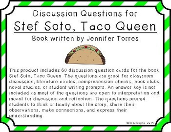 Stef Soto, Taco Queen Novel Study Discussion Question Cards