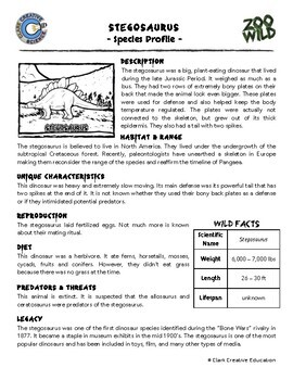 Stegosaurus -- 10 Resources -- Coloring Pages, Reading & Activities
