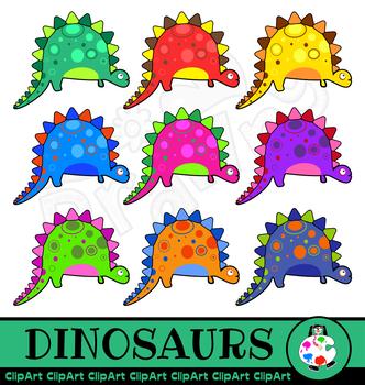 Stegosaurus Dinosaur Clip Art Cartoon Set