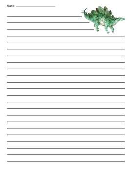 Stegosaurus Dinosaur Lined Paper