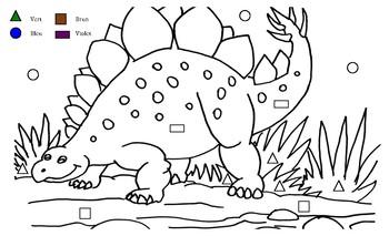 Stegosaurus Paint by Shape - French