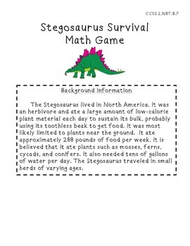 Stegosaurus Survival 3-digit Math Game