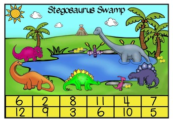 Stegosaurus Swamp Addition Maths Center Freebie