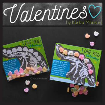 Stegosaurus Valentine with Candy Conversation Hearts Activity