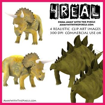 Stegosaurus and triceratops - 4 Realistic Dinosaur Clip Art Images