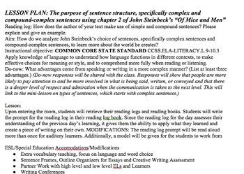 Steinbeck- Of Mice and Men: Complex & Compound Complex Sentences- Lesson Plan