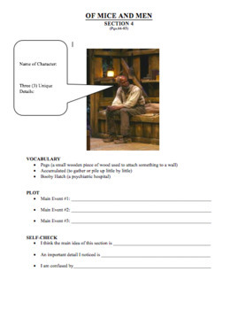 Steinbeck's Of Mice and Men Reading Questions & Exercises and Answer Key
