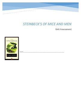 Steinbeck's Of Mice and Men Test: 50 Question M/C Assessment (Higher Order Q's!)