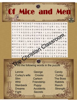 Steinbecks Of Mice And Men Word Search Color and Black and White