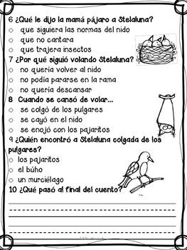 Spanish Comprehensive Stelaluna Preguntas  de comprensión