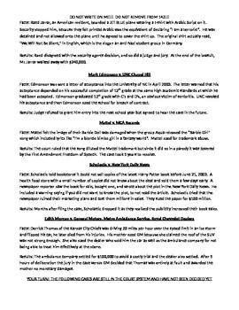 Stella Award Lawsuit Cases - Frivolous Civil Lawsuits - worksheet