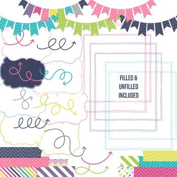 Digital Papers and Frames Stella Jumbo Set