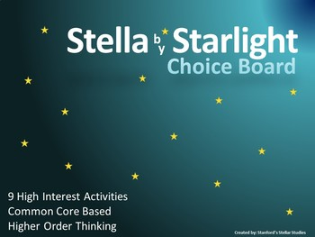 Stella by Starlight Choice Board Tic Tac Toe Novel Activities Menu Assessment
