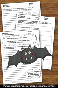 Bats and Stellaluna Halloween Writing Activities, Exclamation Points