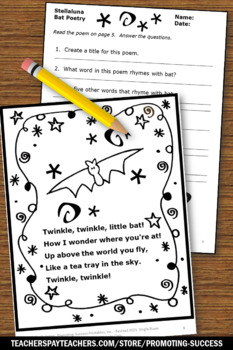 Stellaluna Activities, Poetry Writing & Exclamation Points, Halloween Book