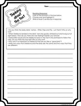 Stellaluna - Book Nook Nibble Mentor Text Literacy Activities
