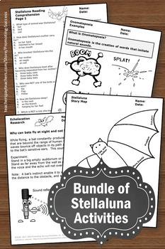 Stellaluna Activities BUNDLE Comprehension Character Traits Science Bats