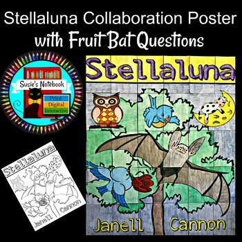 Stellaluna Coloring Sheet or Collaboration Poster with Fruit Bat Questions