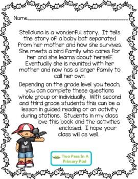 Stellaluna Comprehension Activities