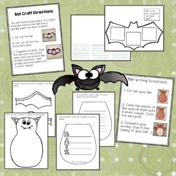 Bat Crafts with Math & LA worksheets