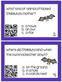 Stellaluna Reading Comprehension Cards with QR Codes