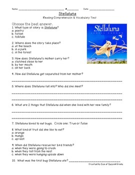 Stellaluna Reading & Vocabulary Test