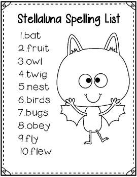Stellaluna Spelling Word List & Spelling Test