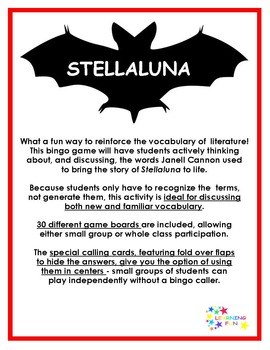 Stellaluna Vocabulary Bingo