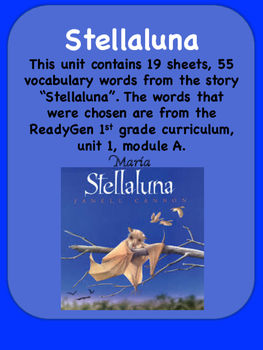 Readygen Stellaluna Vocabulary Word Wall Cards 1st Grade