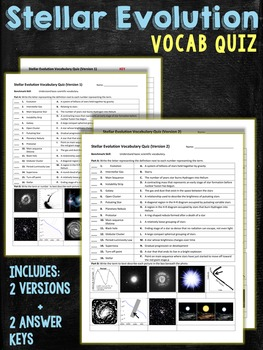 Stellar Evolution Astronomy Vocabulary Quiz