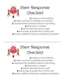 Stem Bin Response Rubric/Checklist