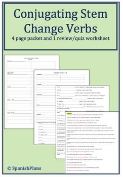 Stem Change Verb Packet