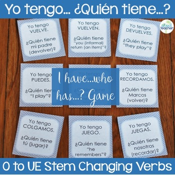 Stem Changing Present Tense O to UE U to UE Verbs I have...who has...? Game
