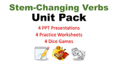 Stem-Changing Spanish Verbs Unit Pack: Quick Lessons and Dice Games