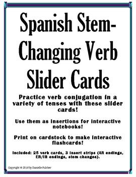 Stem-Changing Verb Slider Cards