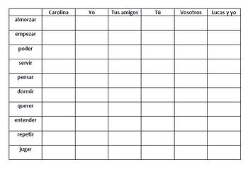 Stem Changing Verbs - Battleship Game
