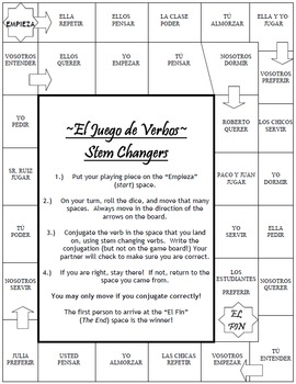 Stem Changing Verbs - Board Game