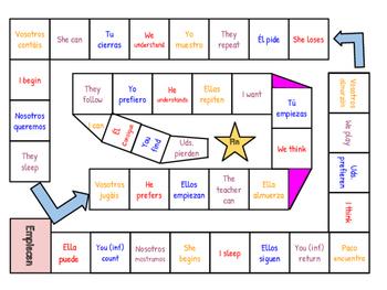 Stem-Changing Verbs Board Game