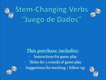 Stem Changing Verbs - Dice Game