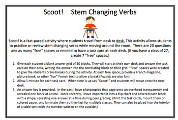 Stem Changing Verbs - Scoot!
