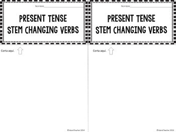 stem changing verbs spanish interactive flip book by island teacher. Black Bedroom Furniture Sets. Home Design Ideas