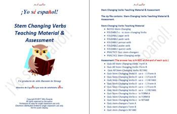 Stem Changing Verbs Teaching Material & Assessment
