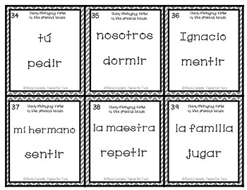 Stem Changing Verbs in the Present Tense Zasca Game