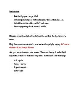 Stem Changing verbs Graphic Organizer