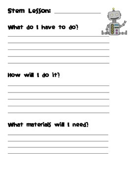Stem Journal Template for Primary Grades